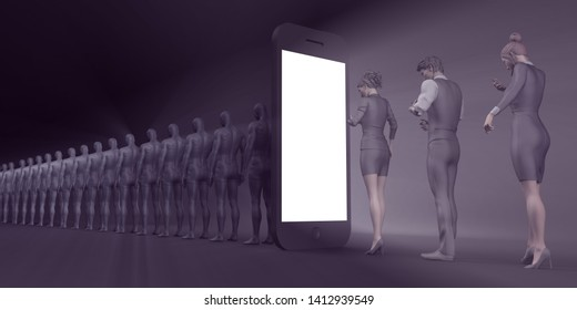 Cell Phone Addiction and Mental Health Risks 3D Render