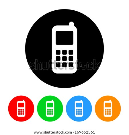 Cell Phone Icon Color Variations Stock Illustration