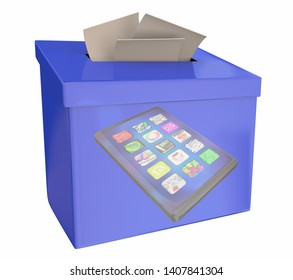 Cell Phone New Smart Device Suggestion Box Feedback Comments 3d Illustration