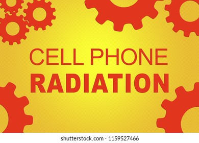 CELL PHONE RADIATION sign concept illustration with red gear wheel figures on orange background