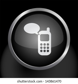 Cell Phone Text Message Icon Symbol - Raster Version, Vector Also Available.