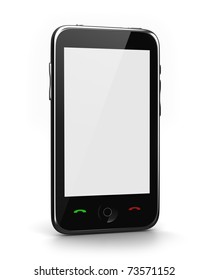 Cell phone with white screen isolated