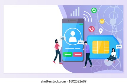 Cellular communication raster, people with smartphone screen showing profile of user and calling icon, sim card messaging and texting call cell. Website or webpage template, landing page flat style