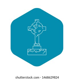 Celtic cross gravestone icon. Outline illustration of celtic cross gravestone icon for web