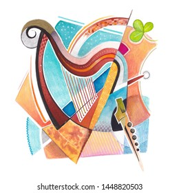 Celtic fantasy, drawing of a celtic harp and stylized Irish musical instruments, pub, ireland, watercolor drawing