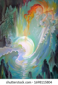 Celtic melody. Portrait of beautiful girl playing the flute in the fairyland seaside. Oil painting on canvas. Illustration of fairy, music and sea. Fantasy maritime landscape with Gothic environment.