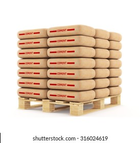 Cement bags stack on wooden pallet. Paper sacks isolated on white background.