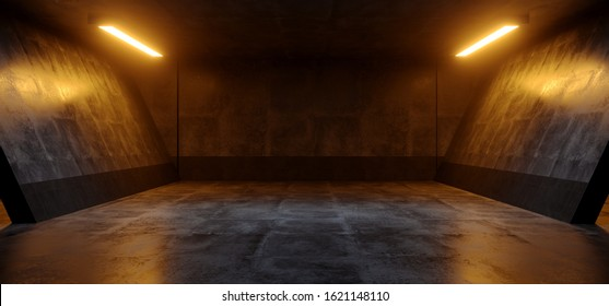 Cement Dark Grunge Orange White Glowing Led Parking Underground Car Warehouse Garage Studio Rough Modern Reflective Spaceship Tunnel Corridor Showcase 3D Rendering Illustration