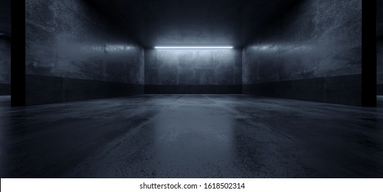 Cement Dark Grunge Parking Underground Car Warehouse Garage Studio Rough Modern Reflective Spaceship Tunnel Corridor Showcase 3D Rendering Illustration