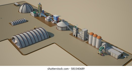 cement factory 3 d render view  In the countryside