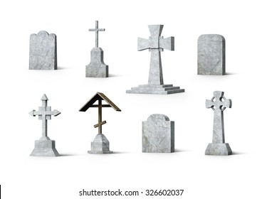 Cementery tombstones set. Bundle of realistic 3d renders isolated on white background