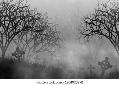 Cemetery in creepy forest illustration concept design background for halloween or horror theme decoration.
