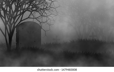 Cemetery in creepy forest illustration concept design background for Halloween.