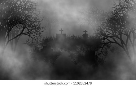 Cemetery of death illustration concept design background for halloween or horror time.