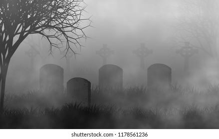 Cemetery in the fog with creepy trees and grave stone illustration halloween or horror concept design background.