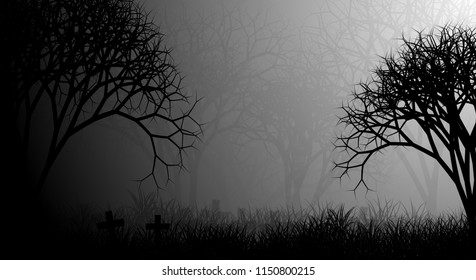 Cemetery forest illustration design background with creepy forest, crosses, grassfield, and fog on the morning.