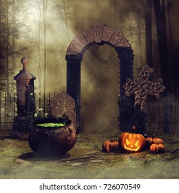 Cemetery gate in the forest with Halloween pumpkins and the witch's cauldron. 3D illustration.