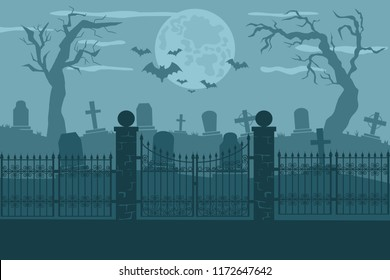 Cemetery or graveyard background. Silhouettes of gravestones, fence, moon etc. Color illustration for Halloween