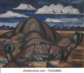 CEMETERY, NEW MEXICO, by Marsden Hartley, 1924, American painting, oil on canvas. Painted from memory six years after he visited Taos, New Mexico, this scene likely depicts the graveyard on the Taos P