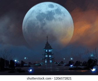 cemetery in night scene with ghosts's spirits against big blue moon, digital illustration art painting design style.