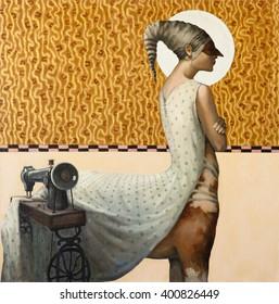 centaur, original oil painting on canvas