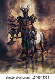 Centaur warrior wearing a battle armour and helmet and holding an axe in his hand. 3D illustration.