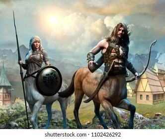 Centaurs scene 3D illustration