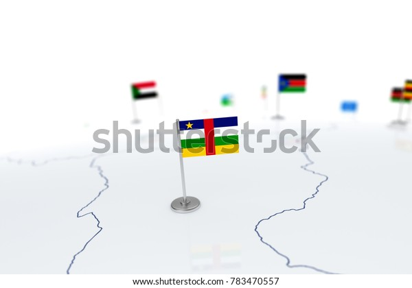 Central Africa Republic flag. Country flag with chrome flagpole on the world map with neighbors countries borders. 3d illustration rendering flag