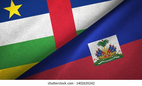 Central African Republic and Haiti two flags textile cloth, fabric texture