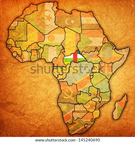 Central African Republic On Actual Vintage Stock Illustration