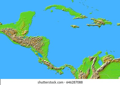 Central America. Shaded relief map with boundaries. Projection Data source: NASA