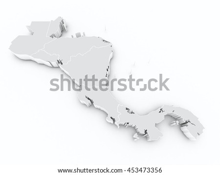 Central America States 3 D Map Stock Illustration 453473356 ...