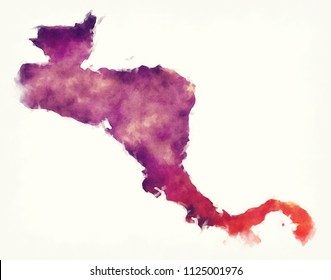 Central America watercolor map in front of a white background