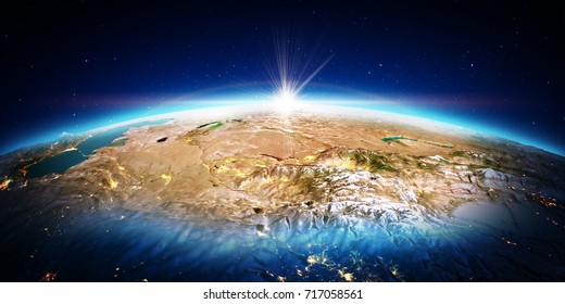 Central Asia. Elements of this image furnished by NASA. 3D rendering
