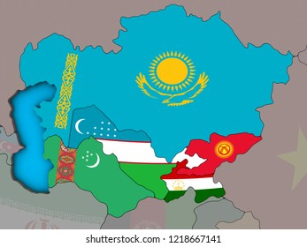 Central Asia with embedded national flags on blue political 3D globe. 3D illustration.