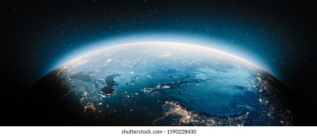 Central Asia at night. Elements of this image furnished by NASA. 3d rendering