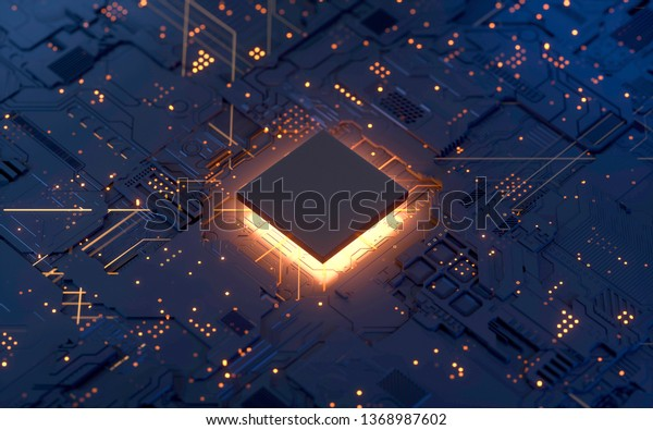 Central Computer Processors CPU concept. 3d rendering,conceptual image.