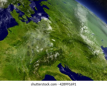 Central Europe with surrounding region as seen from Earth's orbit in space. 3D illustration with highly detailed planet surface and clouds in the atmosphere. Elements of this image furnished by NASA.