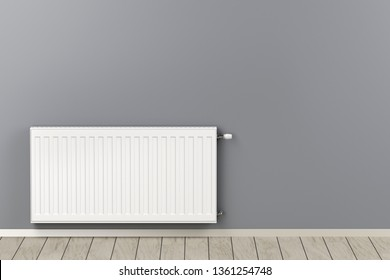 Central heating radiator in the room, 3D illustration
