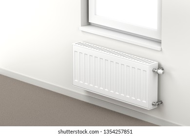 Central heating radiator in the room mounted under the window. 3D illustration
