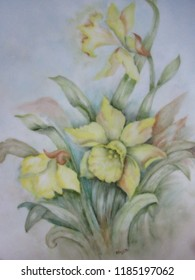Central NJ/USA - April, 24, 2016:  A closeup of several yellow daffodils in bloom; painted on a collector's plate.