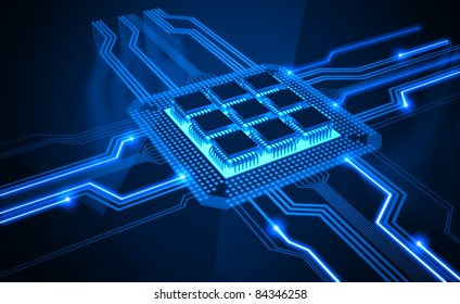 Central Processing Unit. A processor (microchip) interconnected receiving and sending information. Concept of technology and future.
