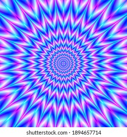 Centre Point Pulse in Blue and Pink   A geometric fractal creation with an optically challenging inward pointed design in blue and pink.