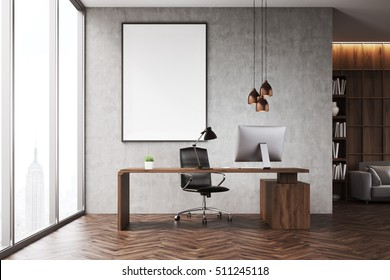 CEO office with bookcase, sofa, table and large vertical poster on concrete wall. 3d rendering. Mock up.