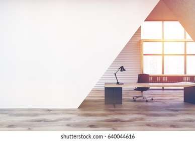 CEO office interior with a black wooden table, a chair, a panoramic window and a white triangular decoration element. 3d rendering, mock up, toned image