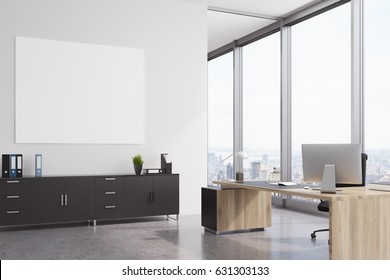 CEO office interior with a closet, a wooden table with a modern computer on it and a horizontal poster on a wall. 3d rendering, mock up