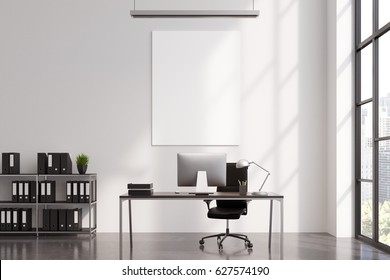CEO office interior with a vertical poster hanging above a computer table and shelves with binders to the left of it. 3d rendering, mock up