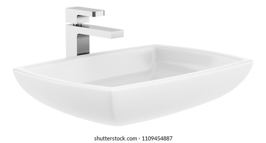 ceramic bathroom sink isolated on white background. 3d illustration