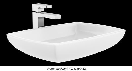 ceramic bathroom sink isolated on black background. 3d illustration