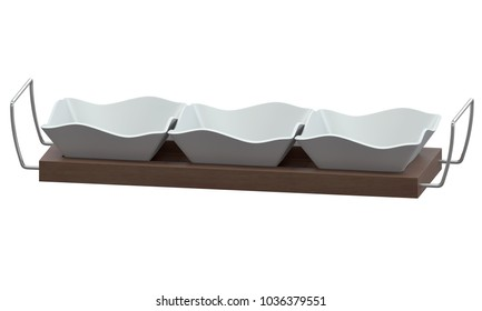 Ceramic bowls on tray isolated on white background 3D render
